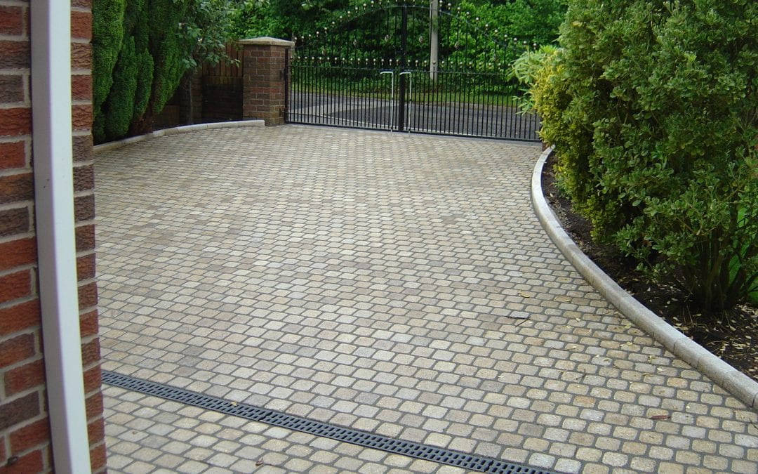 Granite paving with sets, Crawford, Lancashire.