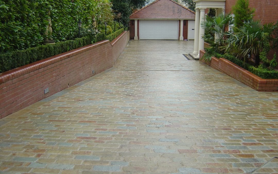 Driveway in Natural sandstone Flamed sets, Parbold, Lancashire.