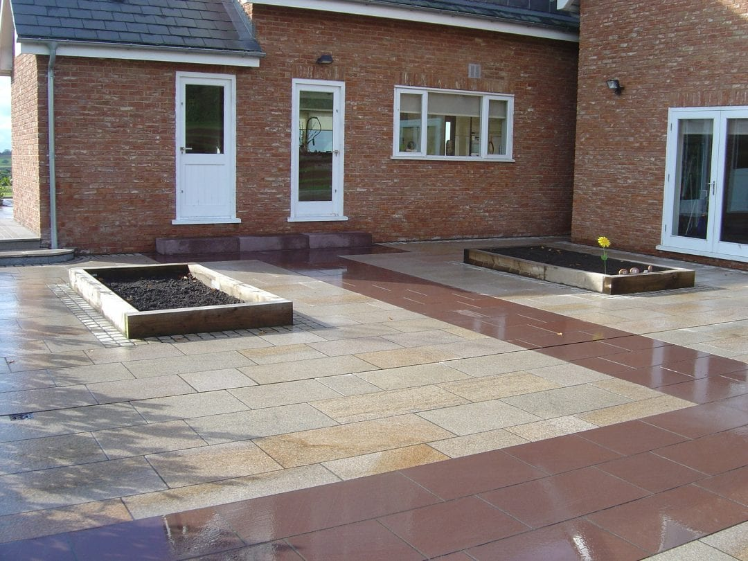 Large Granite Patio with water feature, Rainford, Lancashire