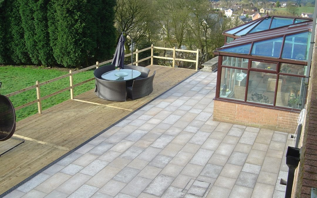 Granite Patio Area with Timber Decking, Edgworth.