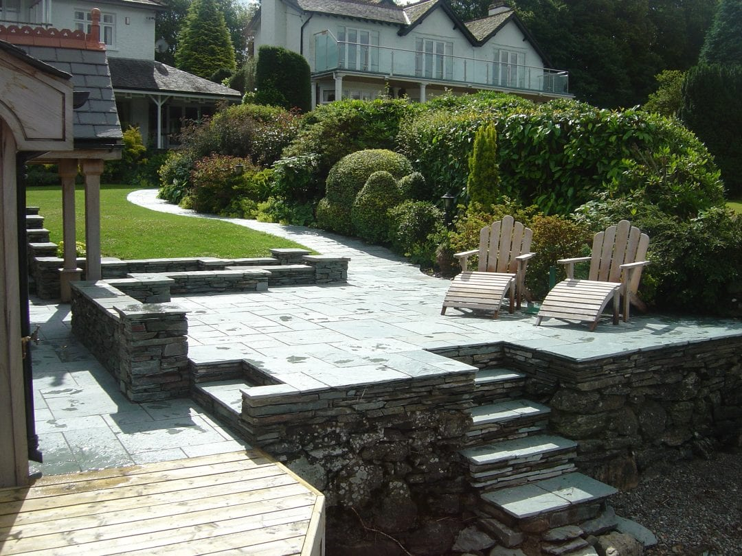 Slate Paving & Walling – Private Boathouse, Bowness, Cumbria