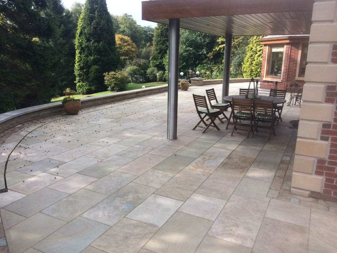 York Buff Sandstone Patio, Lostock, Bolton.
