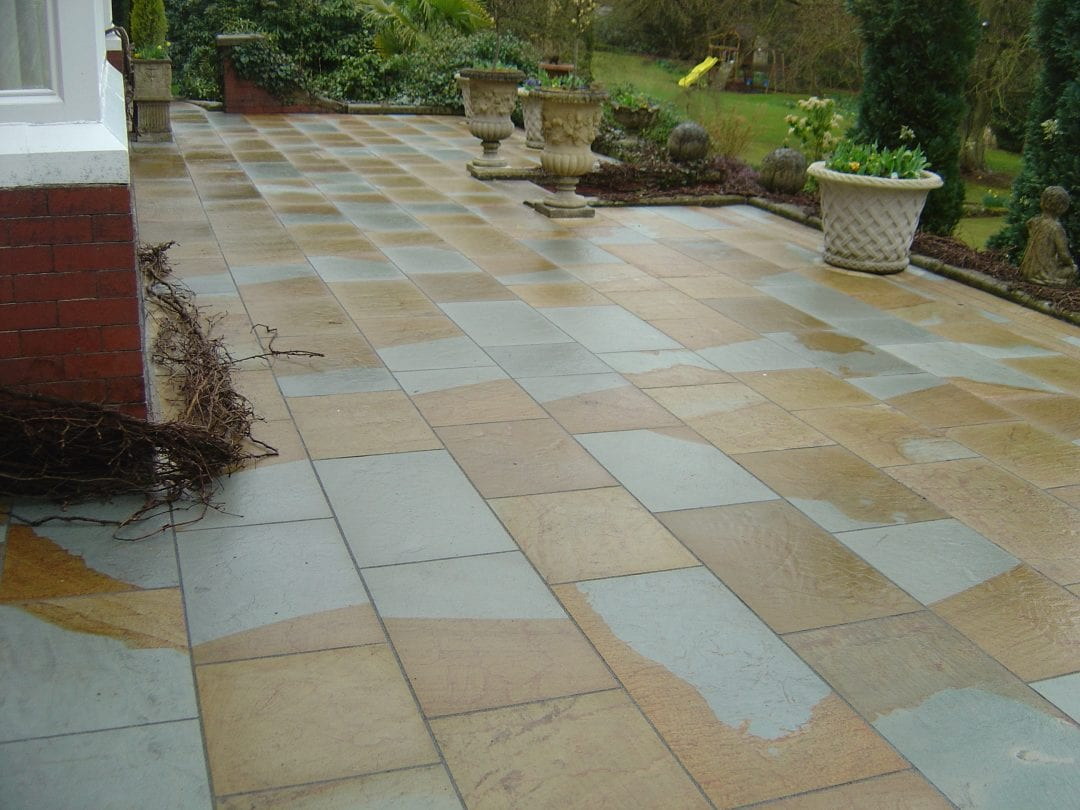 Flamed Sandstone Paving Patio, Cheshire