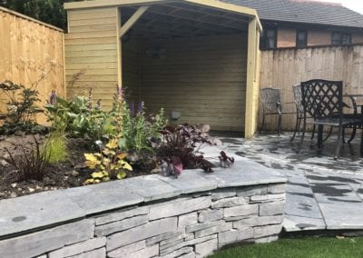 Natural Slate walling & paving area,  Lancashire.